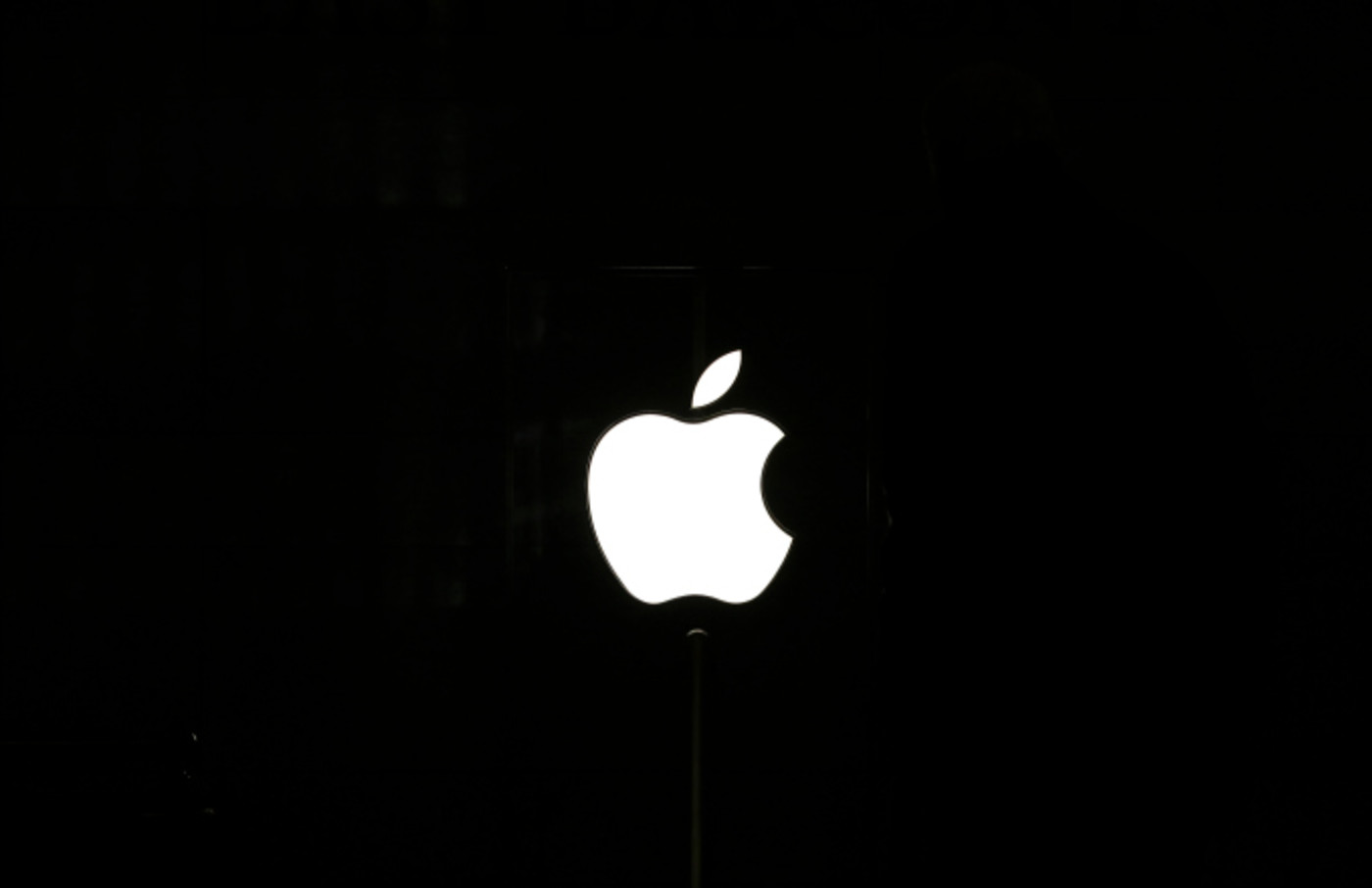 An Apple logo is displayed in an Apple retail store in Grand Central Terminal