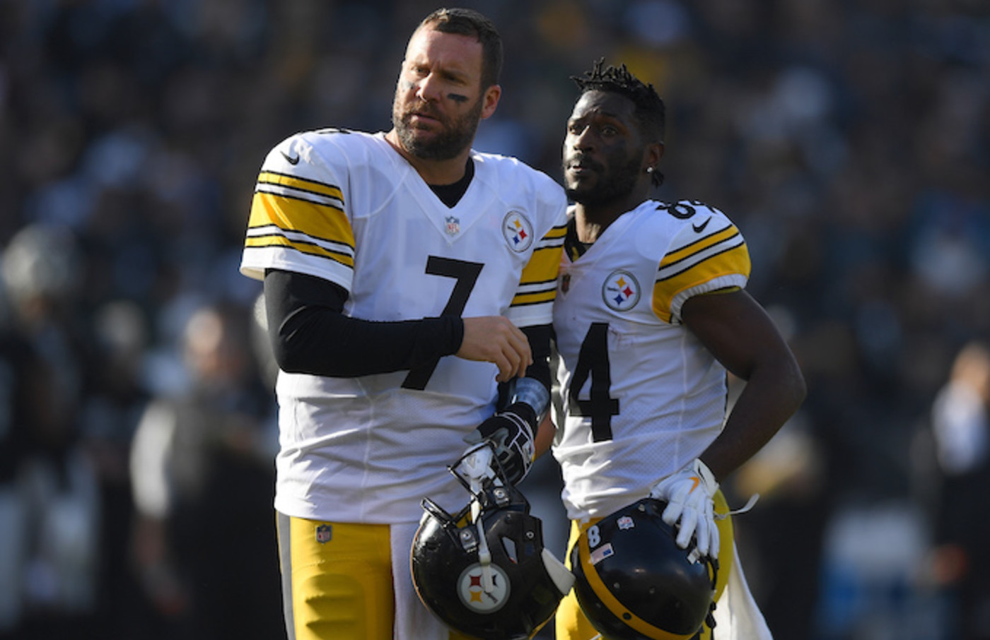 Antonio Brown and Ben Roethlisberger of the Steelers looks on.