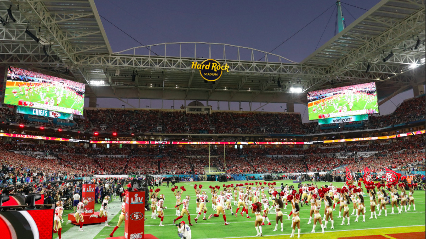 The San Francisco 49ers take the field prior to Super Bowl LIV