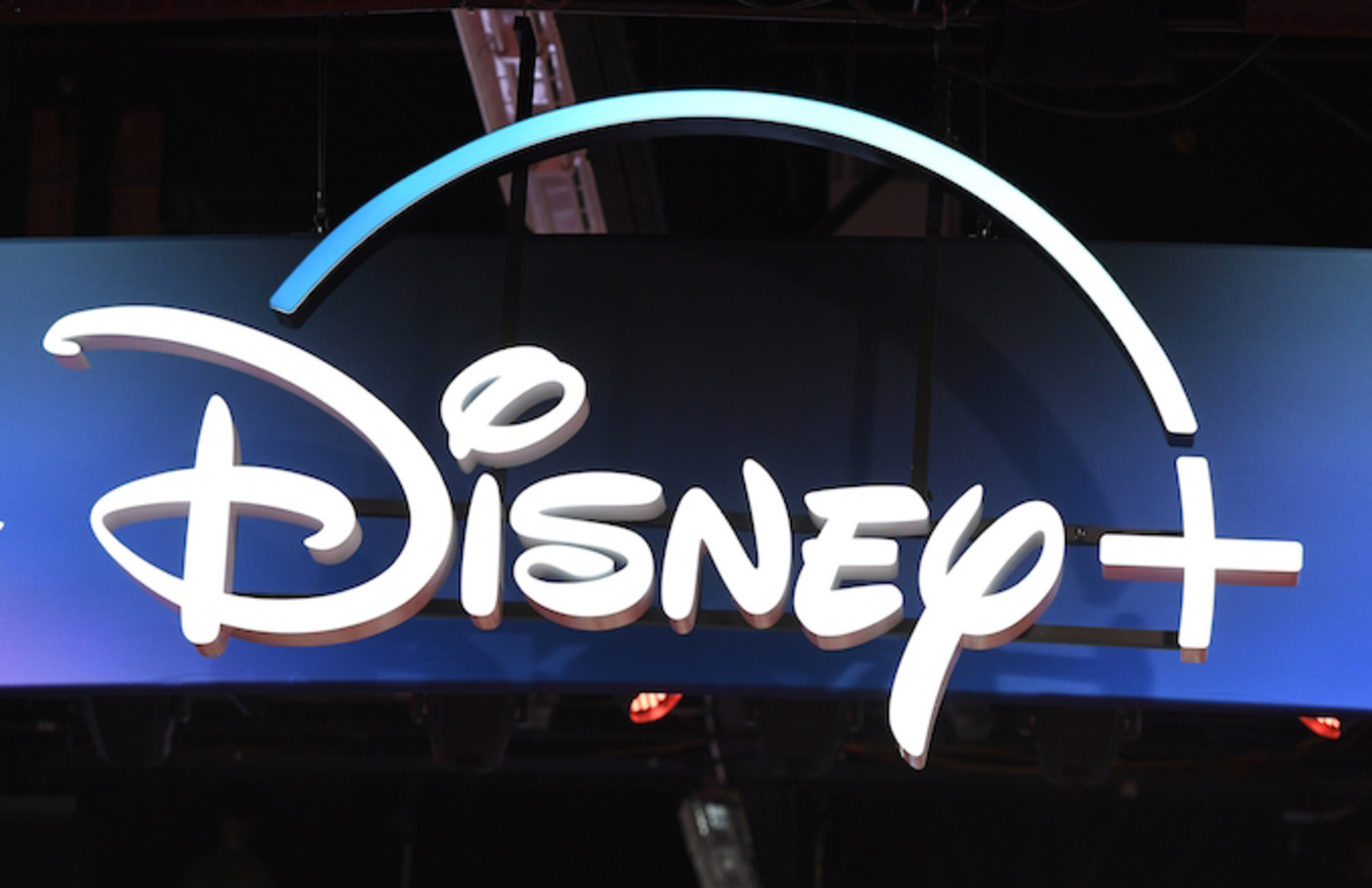 A Disney+ streaming service sign is pictured at the D23 Expo.