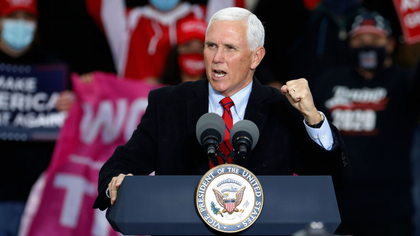 "Mike Pence speaks during a ""Make America Great Again!"" campaign event"