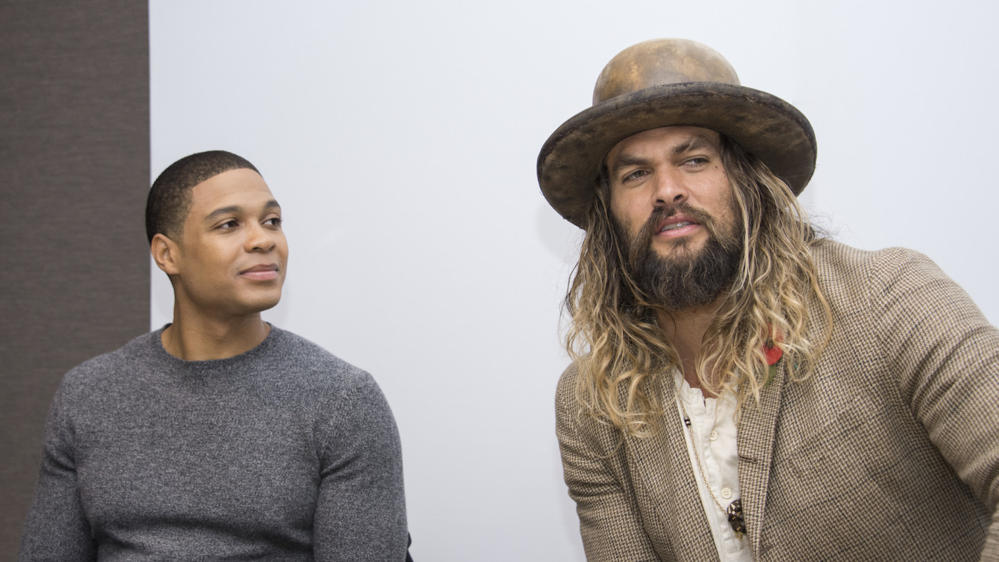 """Ray Fisher and Jason Momoa at the """"Justice League"""" Press Conference."""