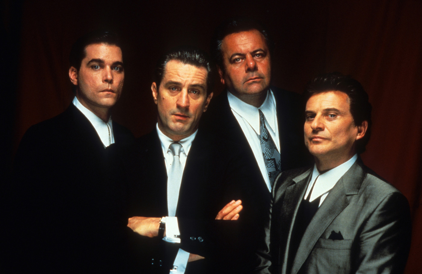 Ray Liotta, Robert De Niro, Paul Sorvino, and Joe Pesci publicity portrait for the film 'Goodfellas'