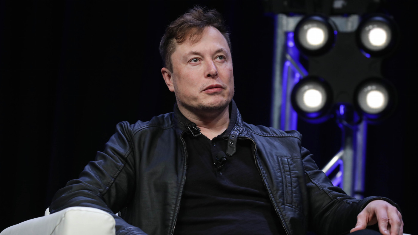 Elon Musk speaks during the Satellite 2020 Conference
