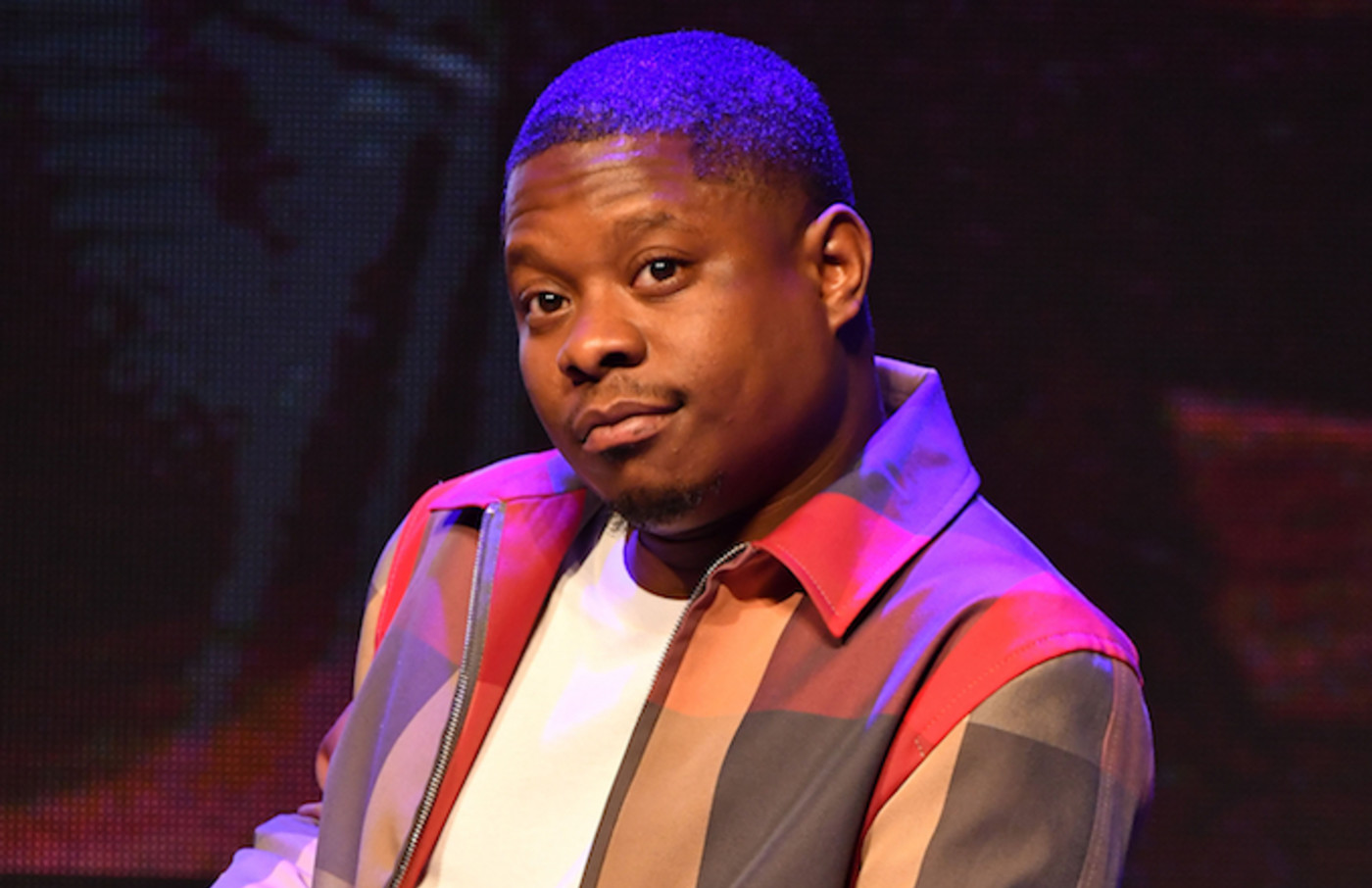 "Jason Mitchell speaks onstage at Sony X Revolt ""Superfly"" Concert."