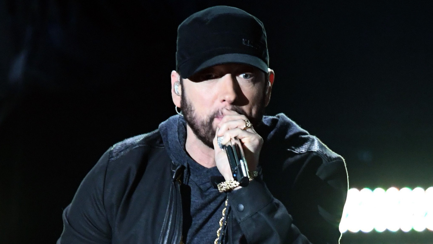 Eminem performs onstage during the 92nd Annual Academy Awards.