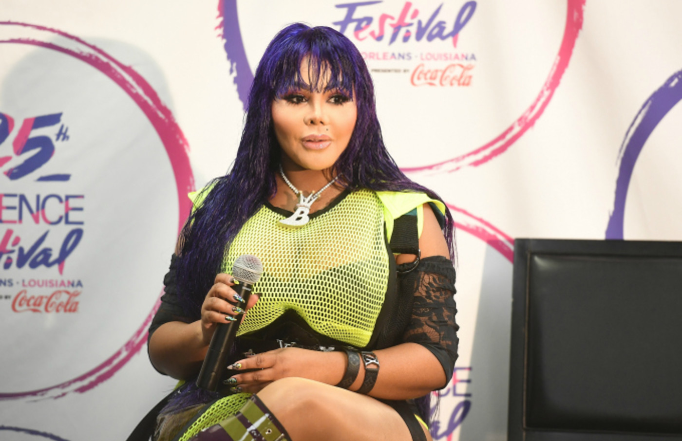 Rapper Lil Kim seen backstage during the 2019 ESSENCE Festival