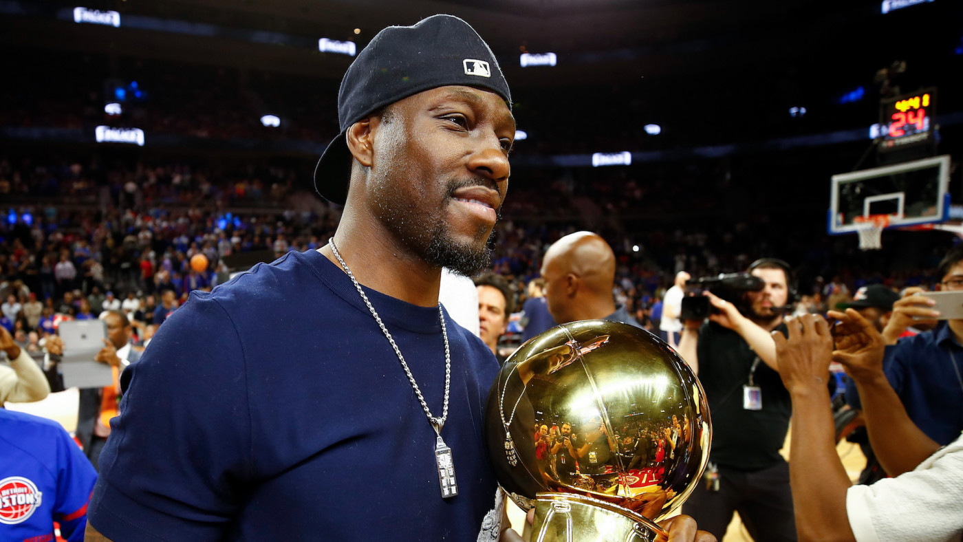 Ben Wallace after a halftime ceremony at the final NBA game at the Palace of Auburn Hills.