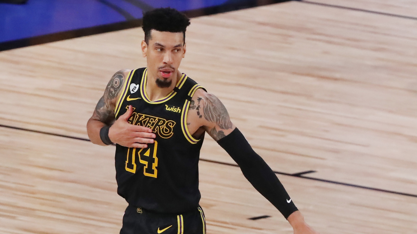 Danny Green reacts during the fourth quarter against the Heat in Game 5 of the 2020 NBA Finals.