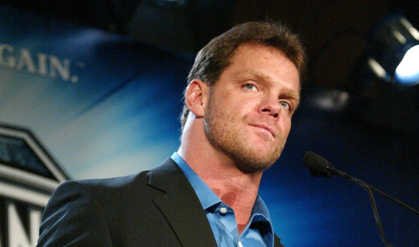 Chris Benoit attends a press conference to promote Wrestlemania XX