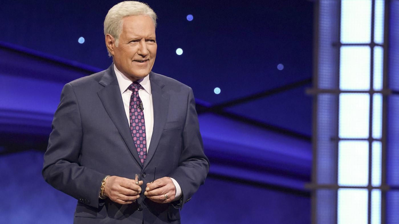 Alex Trebek on the set of Jeopardy!