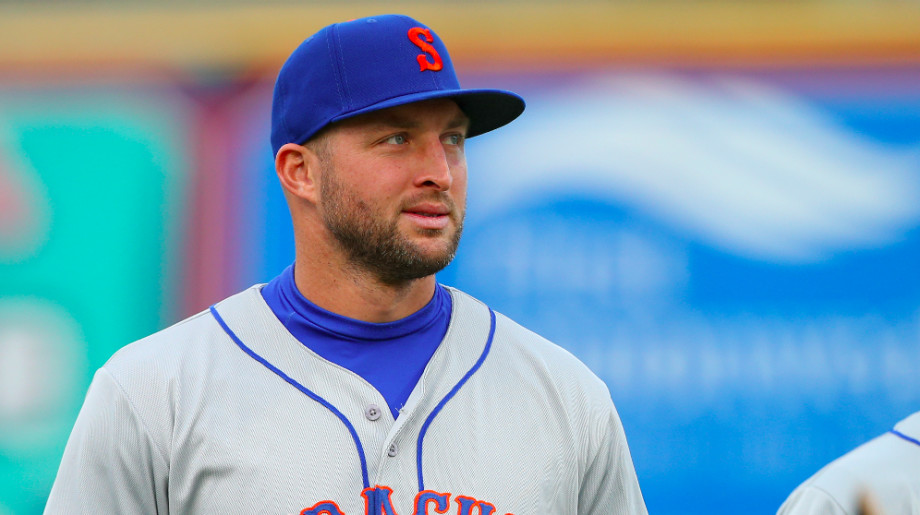 Tim Tebow #15 of the Syracuse Mets