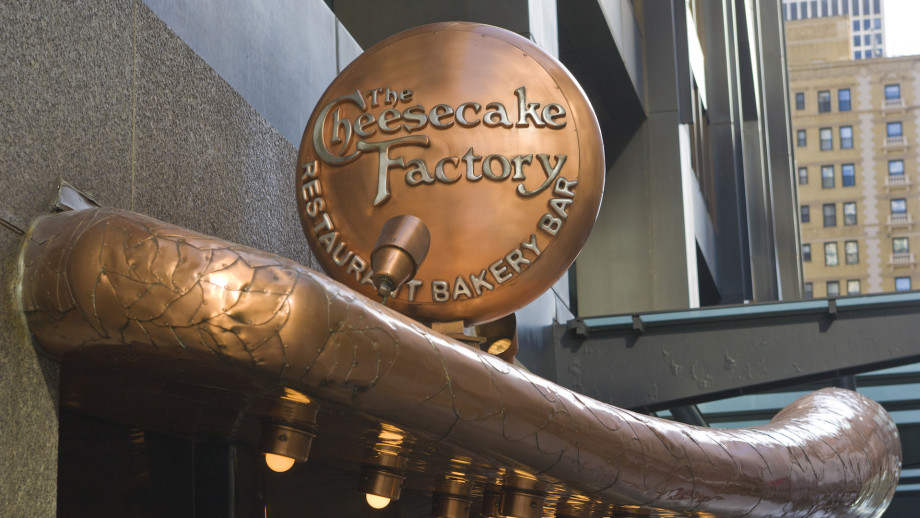 The entrance to the Cheesecake Factory restaurant in the John Hancock Center in Chicago.