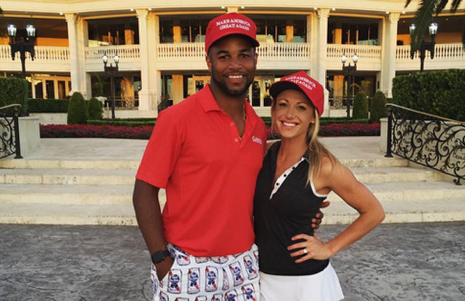 Golden Tate and his now wife sport 'Make America Great Hats.'