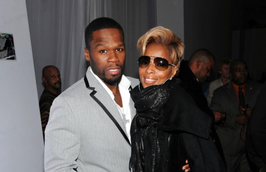 Rapper 50 Cent (L) and singer Mary J. Blige
