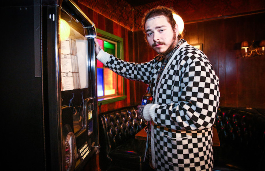Post Malone behind the scenes before his Bud Light Dive Bar Tour show in Nashville.