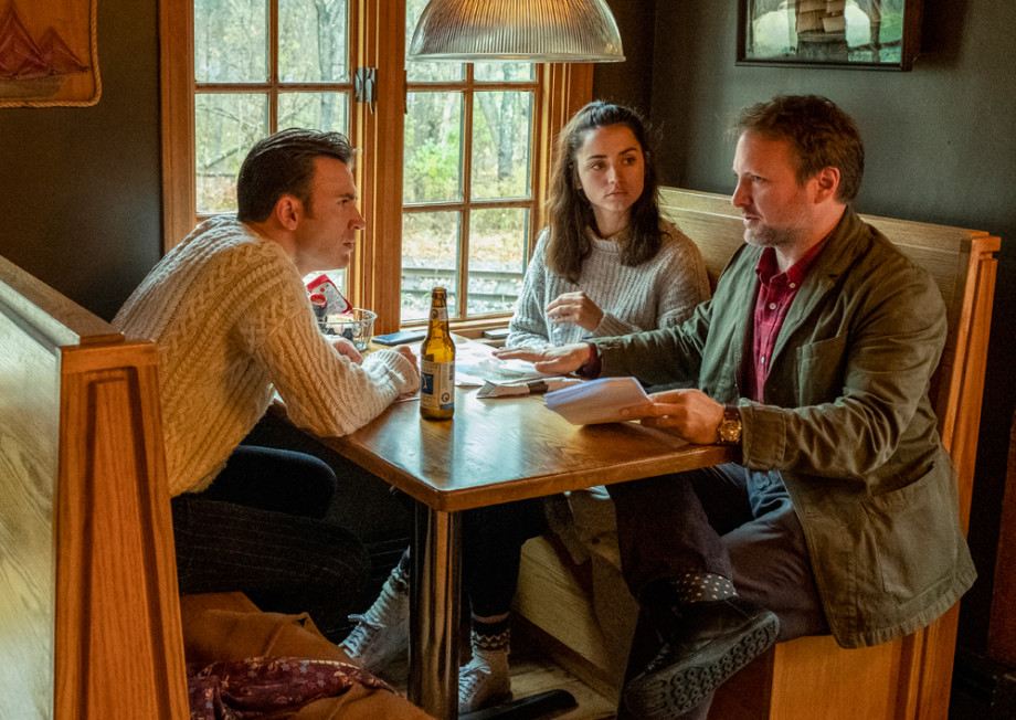 Chris Evans, Ana de Armas and Director Rian Johnson on the set of 'Knives Out'