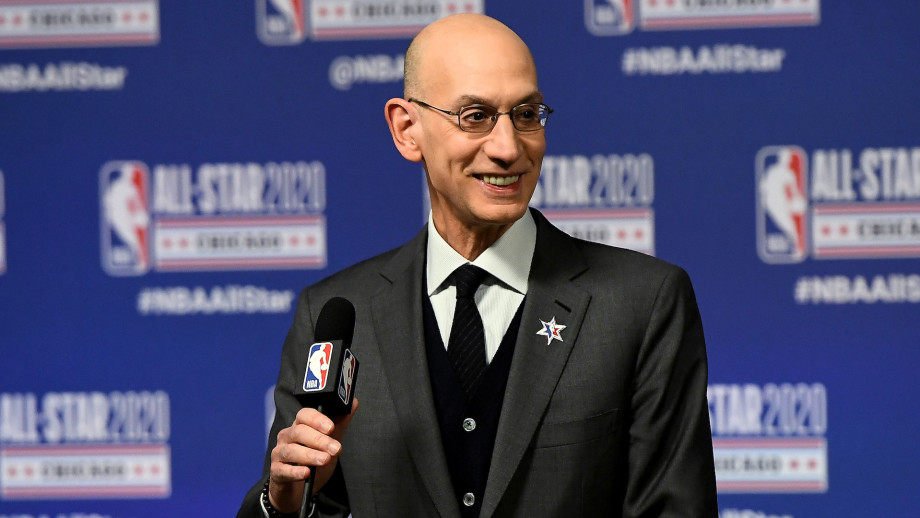 Adam Silver speaks to the media during a press conference at the United Center.