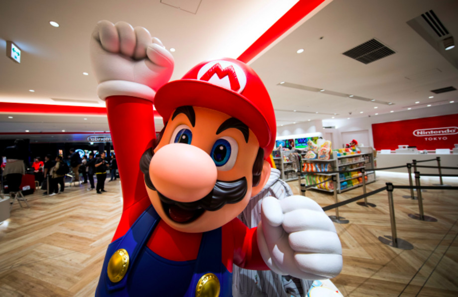 Mario is seen at a new Nintendo store