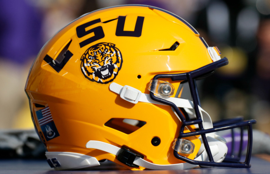 An LSU Tigers helmet during the game between the LSU Tigers