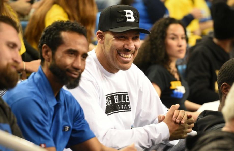 LaVar Ball watches a UCLA game in Big Baller Brand gear.