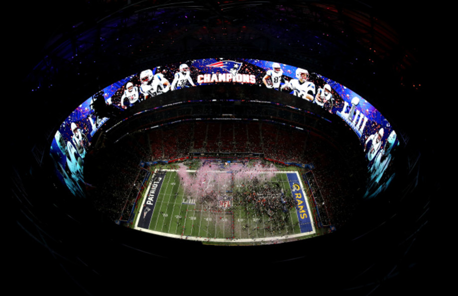 A general view as the the New England Patriots celebrate their 13 to 3 win