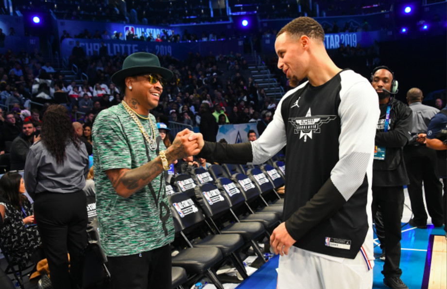 Stephen Curry #30 of Team Giannis shakes hands with Allen Iverson