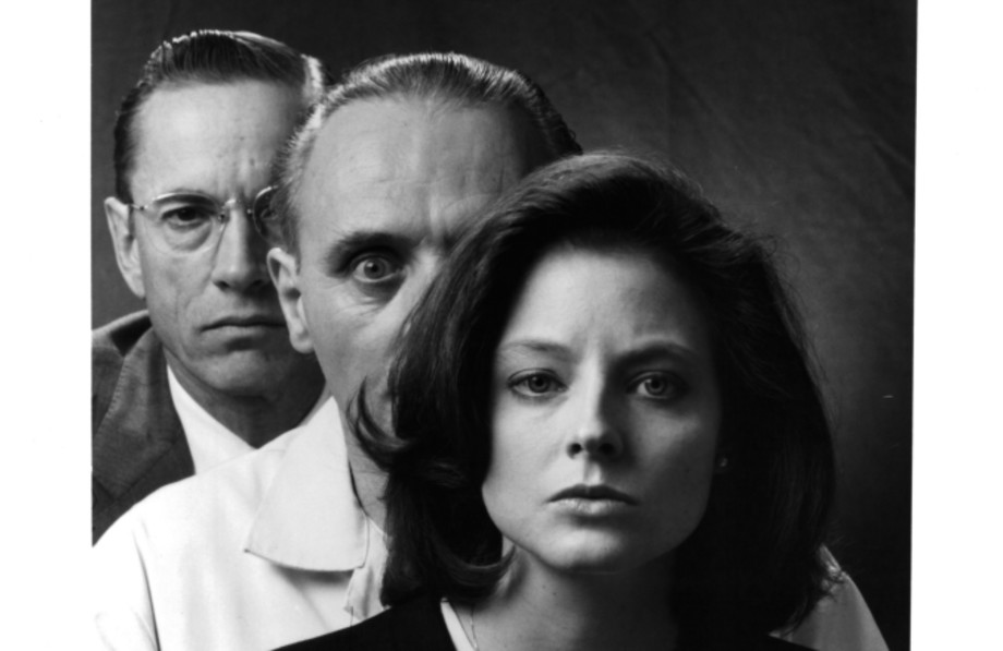 Scott Glenn, Anthony Hopkins and actress Jodie Foster pose for the movie The Silence of the Lambs