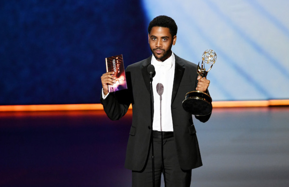Jharrel Jerome accepts award for 'When They See Us' during Emmy Awards.