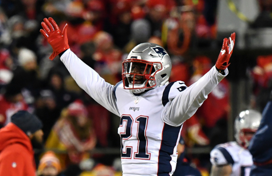 Duron Harmon #21 of the New England Patriots celebrates