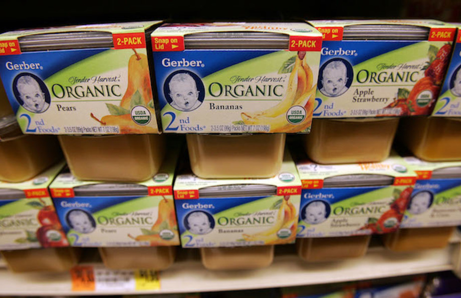 Gerber organic baby food product