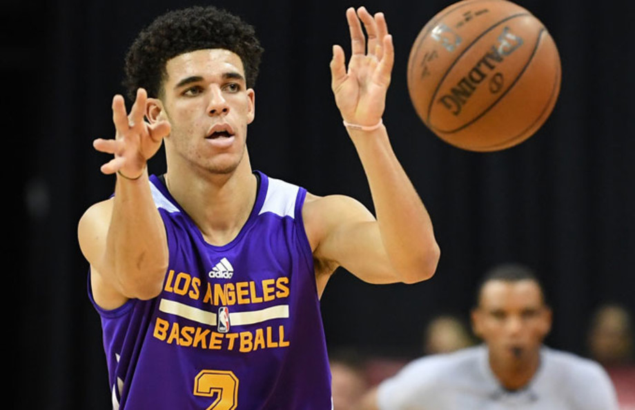 Lonzo Ball passes during an NBA Summer League playoff game.