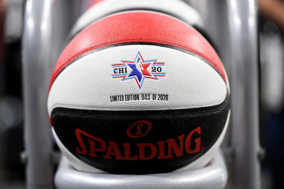 A detail view of a basketball during the 2020 NBA All-Star Celebrity Game.