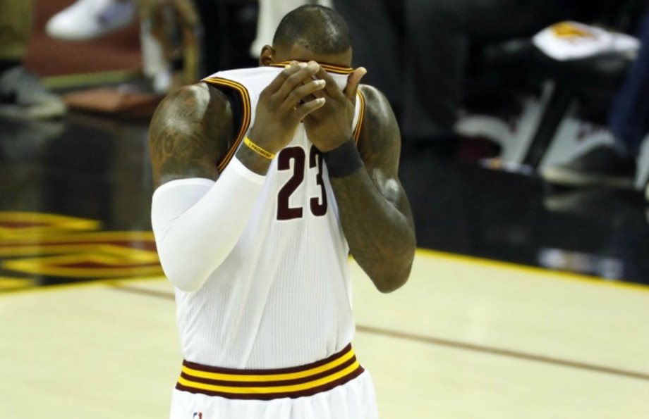 LeBron James shows his frustration on the court against the Celtics.