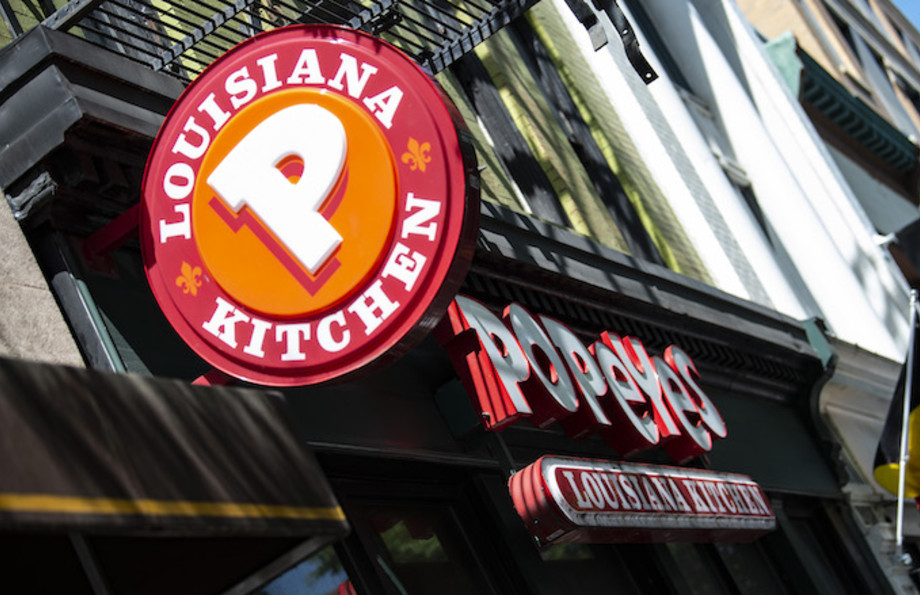 A Popeyes fast food chain restaurant is seen on a street of Washington D.C.