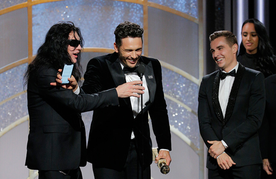 Tommy Wiseau and the Frano brothers at the Golden Globes
