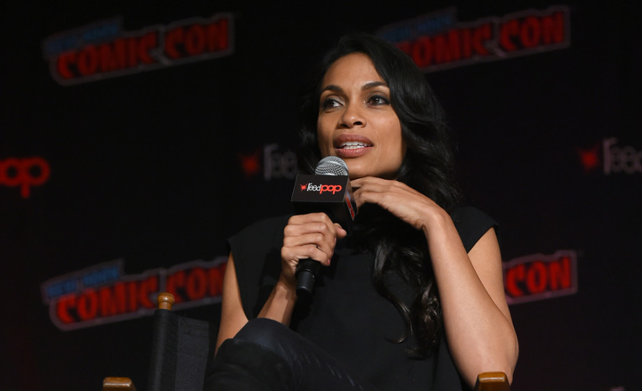 Rosario Dawson speaks at the Wonder Woman: Bloodlines during New York Comic Con 2019