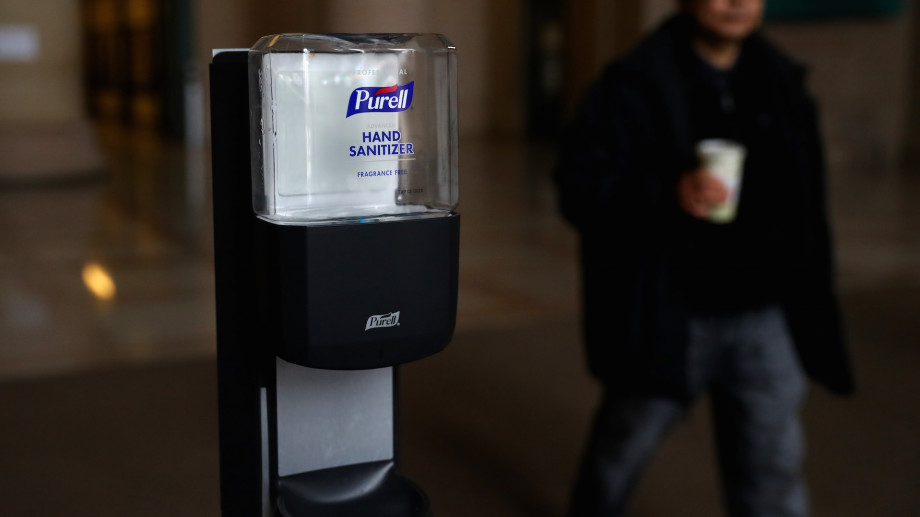 Purell hand sanitizer inside the Information Center