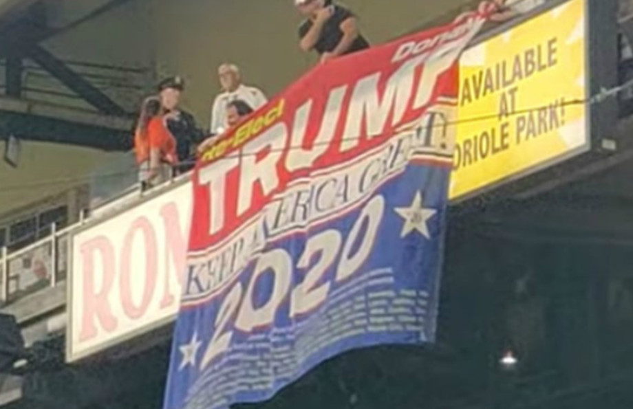 Trump re-election banner at Orioles/Blue Jays game