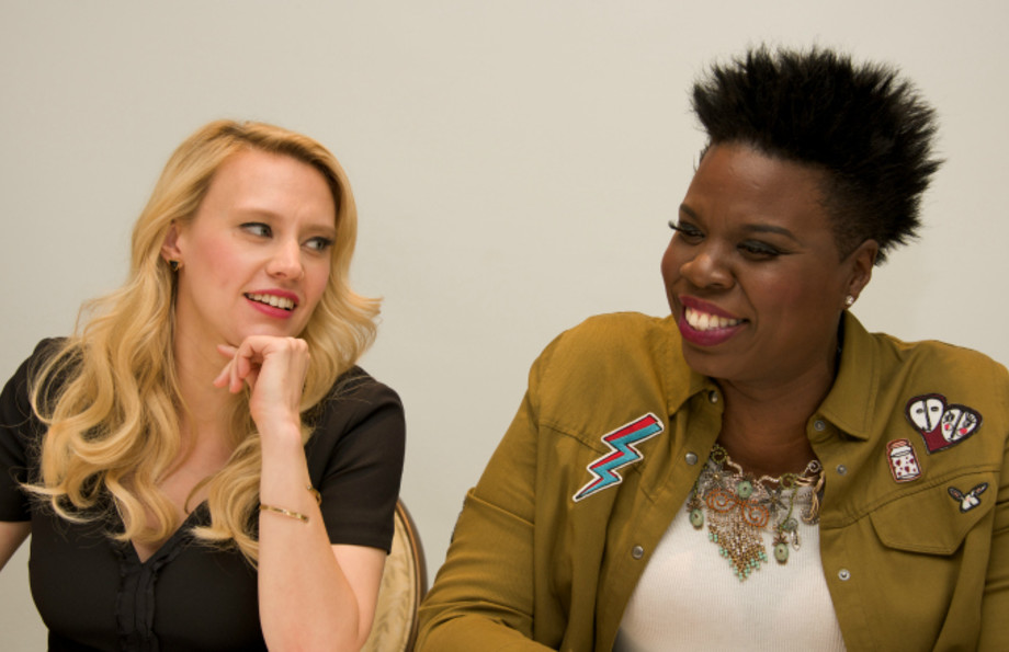 "Kate McKinnon and Leslie Jones at the ""Ghostbusters"" Press Conference"