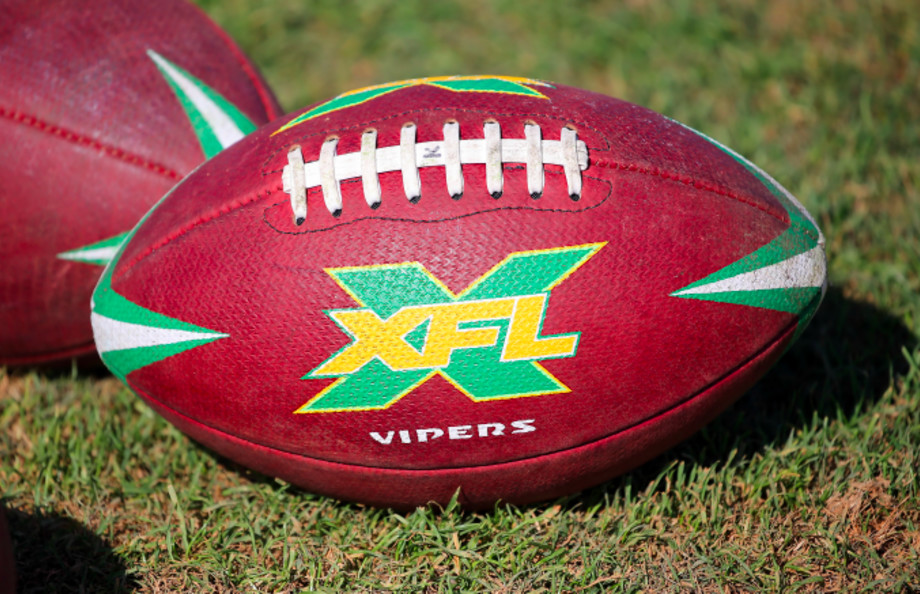 The official XFL game ball for the Tampa Bay Vipers