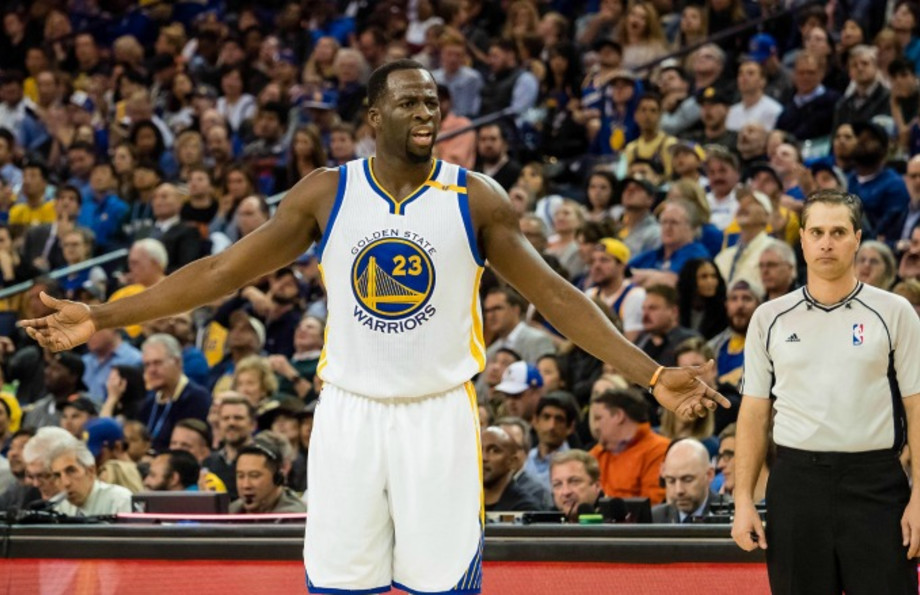 Draymond Green reacts to a call on the court.