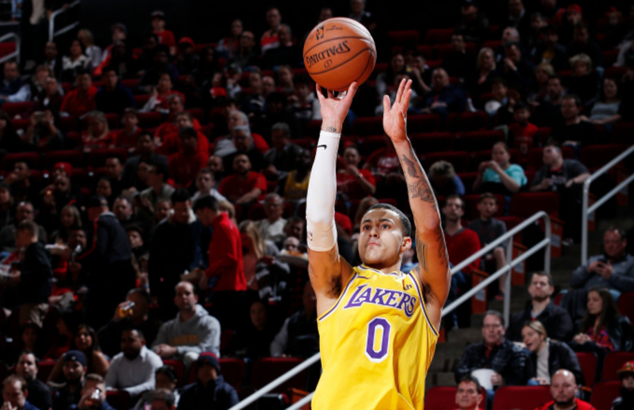 Kyle Kuzma #0 of the Los Angeles Lakers shoots the ball against the Houston Rockets