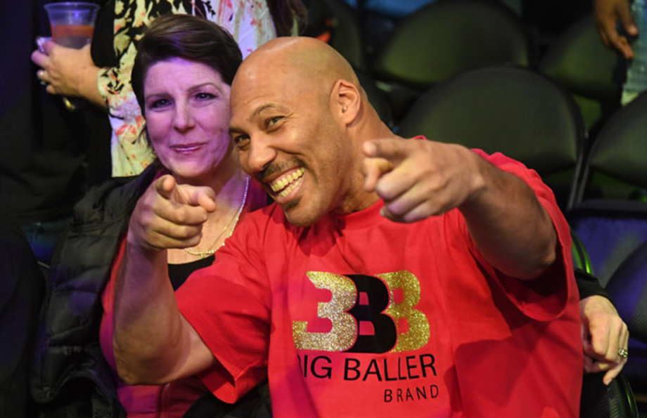 LaVar Ball poses for the cameras with his wife, Tina.