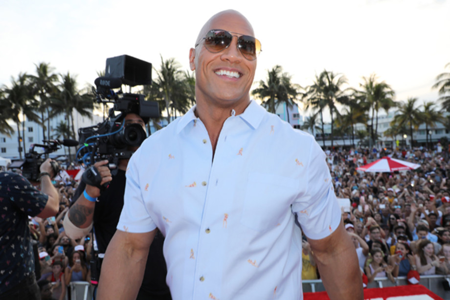 Dwayne Johnson attends the world premiere of 'Baywatch' at South Beach