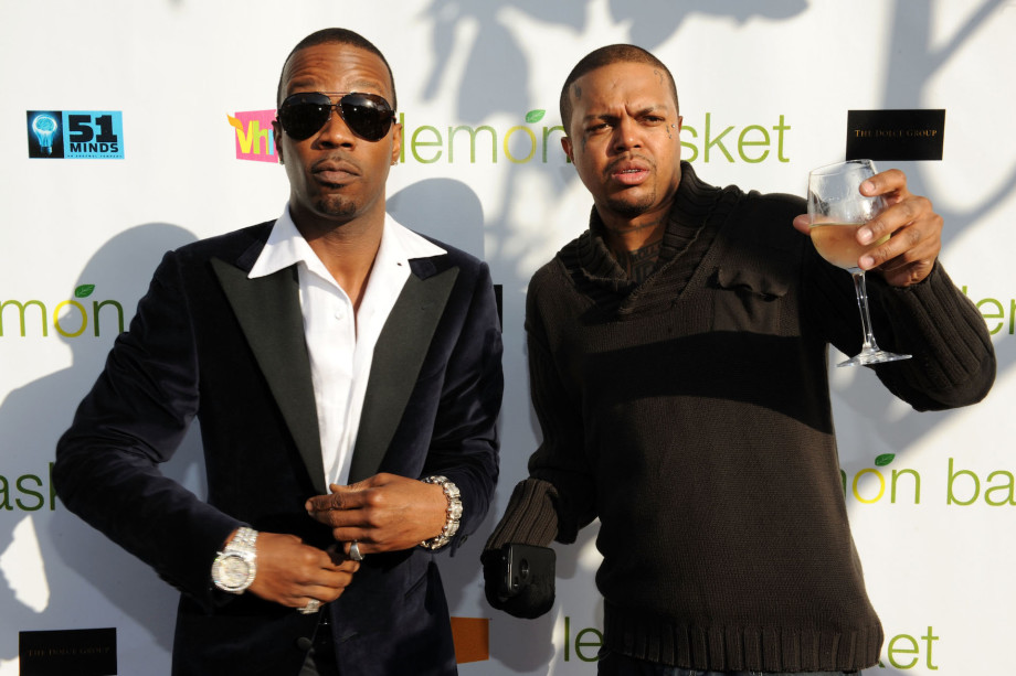 Juicy J and DJ Paul of Three 6 Mafia arrive at the grand opening of Lemon Basket restaurant.