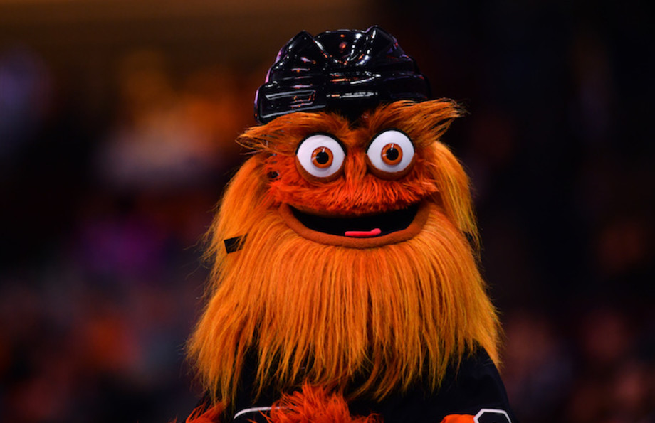 Flyers mascot Gritty looks on during game against the Tampa Bay Lightning.