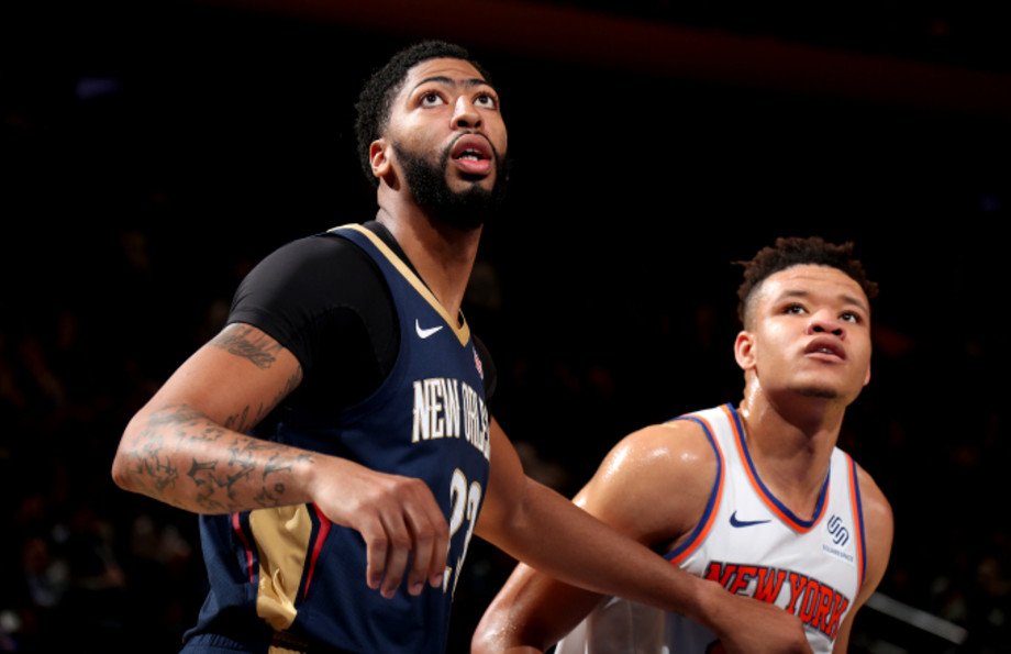 Anthony Davis #23 of the New Orleans Pelicans, and Kevin Knox