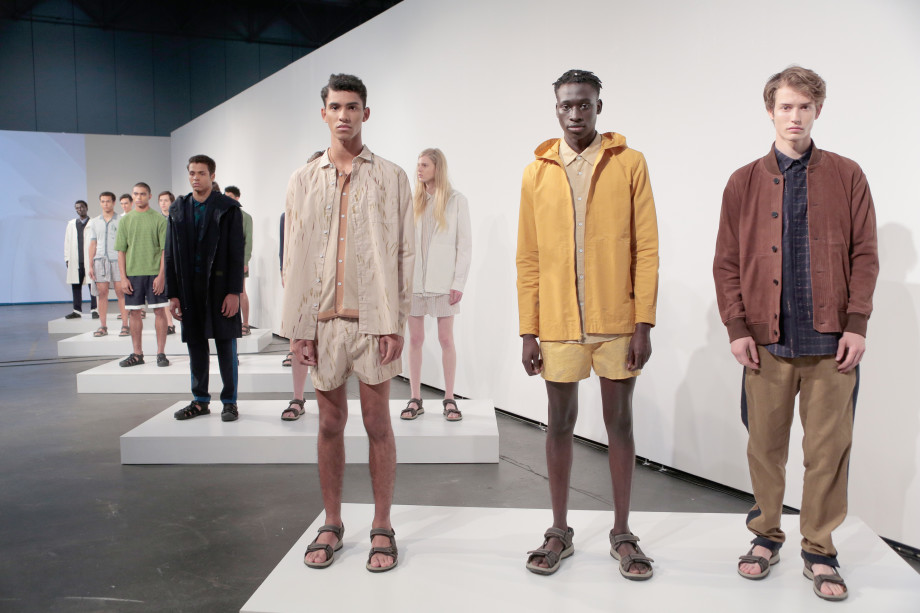 This is a photo of models posing during the DDUGOFF Presentation in NYC.