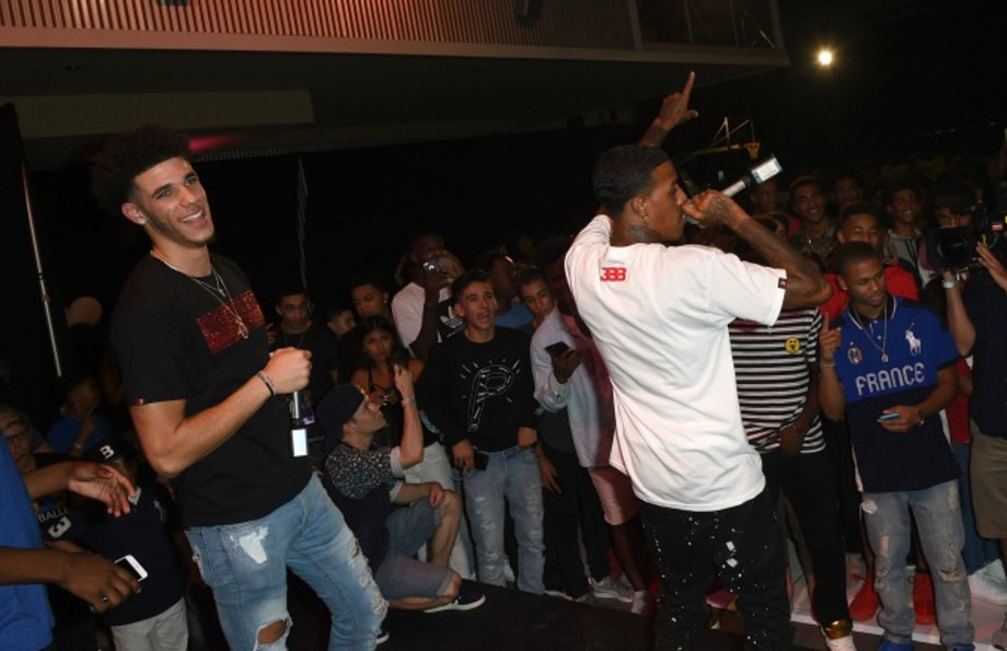 Lonzo Ball performs at LaMelo Ball's 16th birthday party.
